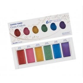 Zig Kuretake Gansai Tambi Gem Colors Mücevher Renkleri Sulu Boya 6 Renk