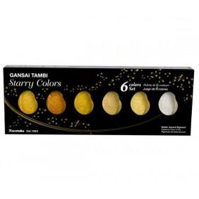 Zig Kuretake Gansai Tambi Starry Colors Yaldız Sulu Boya 6 Renk