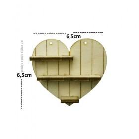 Kalp Raf Minyatür Ahşap Obje KD-341