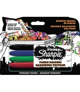 Sharpie Stained Fırça Uçlu Tekstil Kalemi 4 Renk