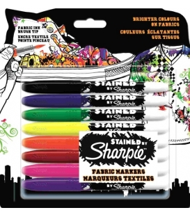 Sharpie Stained Fırça Uçlu Tekstil Kalemi 8'li