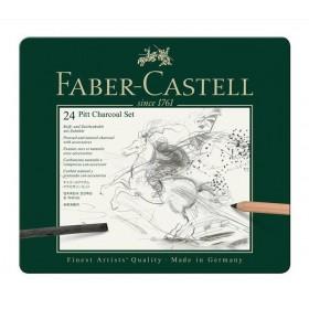 Faber Castell Pitt Charcoal İşlenmiş Kömür Seti 24 Parça