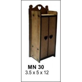2 Kapaklı Dolap Minyatür Ahşap Obje 12x5x3cm