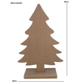 18mm Yılbaşı Ağacı Ayaklı 50cm Ahşap Obje