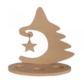 Yıldızlı Yılbaşı Ağacı Mumluk Ahşap Obje