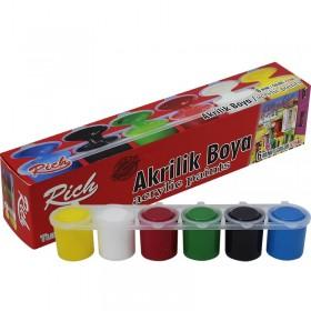 Rich Öğrenci Tipi AKRİLİK Boya 6 Renk x 25ml