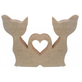 Aşık Kediler Figür Ahşap Obje F12