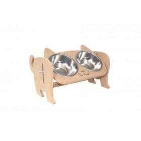 Ahşap Kedi Mamalık (Ayarlanabilir Hazneli) 30x16x23cm