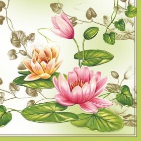 Maki Peçete Yeşil Nilüfer Çiçeği 010901 Özel Desen 33x33- 38