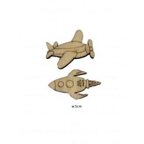 Lazer Kesim Ahşap Obje Uçak ve Uzay Mekiği