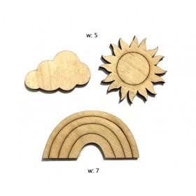 Lazer Kesim Ahşap Süs Gökkuşağı-Güneş-Bulut PS-103