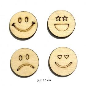 Lazer Kesim Ahşap Süs 4'lü Emojiler PS-105