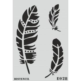 biStencil Kuş Tüyleri Şablon 25x35cm E-028
