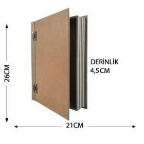 Antik Kitap Kutu Orta Boy Ahşap Obje 26x21cm