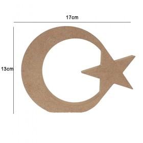 18mm Ahşap Ay Yıldız 17x13cm