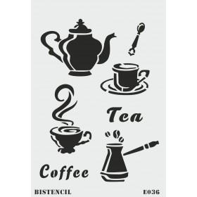 biStencil Coffee Tea Şablon 25x35cm E-036