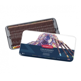 Derwent Coloursoft Pencils Yumuşak Kuruboya Kalemi 36'lı Teneke Kutu