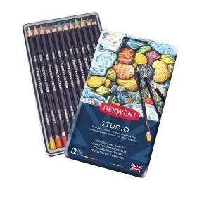 Derwent Studio Pencils Kuruboya Kalemi 12'li Teneke Kutu