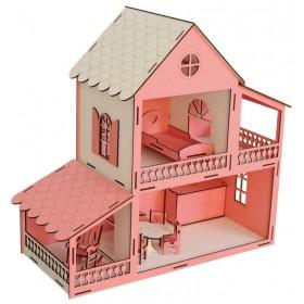 Pembe Barbie Evi 9 Parça Eşyalı (Demonte)