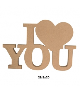 18mm Ahşap I Love You Biblo 29,5x20cm