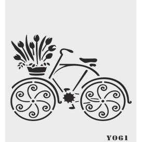 biStencil Sepetli Bisiklet Şablon 14x18cm Y-061