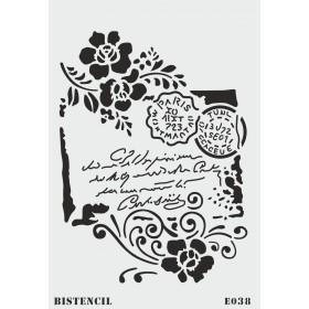 biStencil Zarf Yazısı Çiçekler Şablon 25x35cm E-038