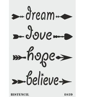 biStencil Dream Love Hope Ok Şablon 25x35cm E-039