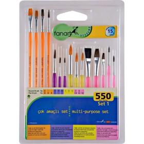 Fanart Academy Çok Amaçlı Fırça Seti 15'li- Multi-purpose