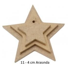 3'lü Asmalı Yıldız Set Ahşap Obje