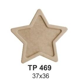 Ahşap Yıldız Tepsi Orta 37x36cm