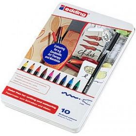 Edding 1300 Grafik Kalemi 10'lu Metal Kutu Karışık