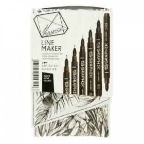 Derwent Graphik Line Maker Teknik Çizim ve Grafik Kalemi 6'lı Set BLACK