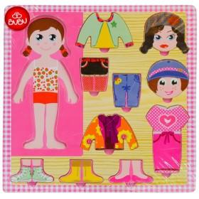 BuBu Kız-Erkek Giydirme Ahşap Puzzle 30x30cm