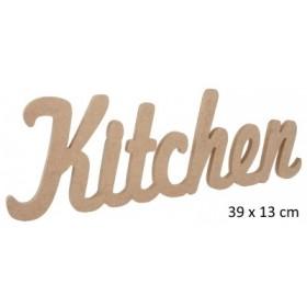 Kitchen Yazısı Duvar Süsü Ahşap Obje 39x13cm