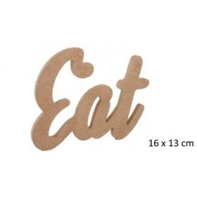 Eat Yazısı Duvar Süsü Ahşap Obje 16x13cm