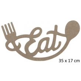 Çatal Kaşık Eat Yazısı Duvar Süsü Ahşap 35x17 cm