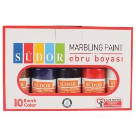 Südor Ebru Boyası Set 10 Renk x 25 ml Damlalıklı