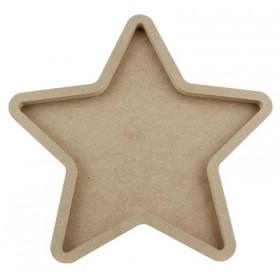 Yıldız Pano Kalın Ahşap Obje 40x40x2cm