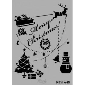 Rich New Stencil N-645 merry christmas kızak 35x25cm