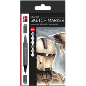 Marabu Graphix Sketch Marker Set 6'lı ALPHA ROBOT
