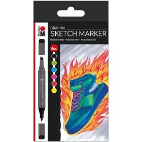 Marabu Graphix Sketch Marker Set 6'lı HEAT