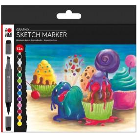 Marabu Graphix Sketch Marker Set 12'li SUGARHOLIC