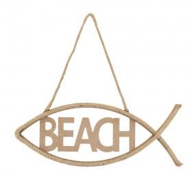 Beach Yazılı Balık Hasır İpli Tabela/Pano