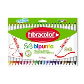 Fibracolor Bipunta Kalın+İnce Çift Uçlu Keçeli Kalem 24 Renk