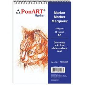 PonART Marker Pad 190 gr 30 Yaprak A3