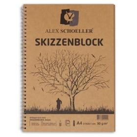 Alex Schoeller Kraft Eskiz Blok A4 Yandan Spiralli 90 gr. 60 yp.