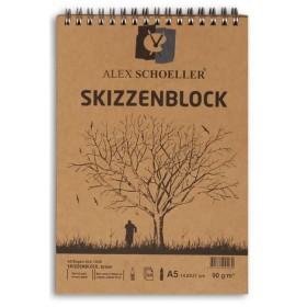Alex Schoeller Kraft Eskiz Blok A5 Üstten Spiralli 90 gr. 60 yp.