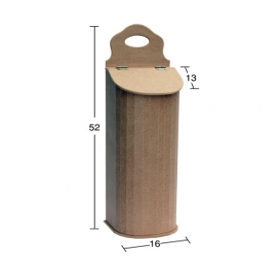 Oval Kapaklı Poşetlik  52x16x13cm Ahşap Obje