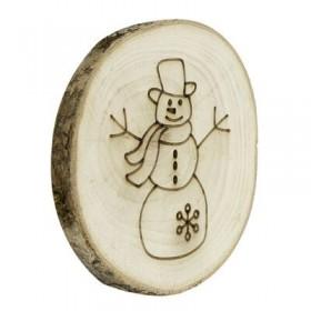 10cm Kütük Dilim Üzerine Yılbaşı Kardan Adam