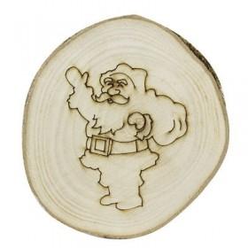 10cm Kütük Dilim Üzerine Yılbaşı Noel Baba